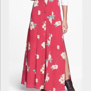 Mink Pink | pink floral button front maxi skirt S